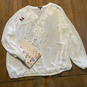 Sheer White Coverup with Beading & Embroidery